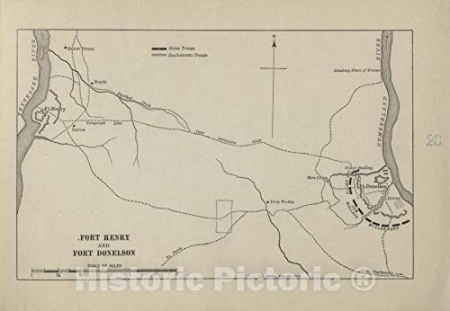Historic 1914 Map | Campaigns of The American Civil War-Atlas | Fort Henry and Fort Donelson | American Civil War Atlas 64in x 44in (Fort Henry And Fort Donelson Civil War)