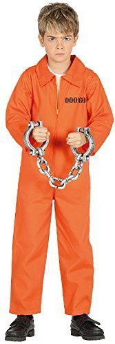 Girls Boys Prisoner Inmate Orange Death Row Halloween Horror Scary TV Book Film Fancy Dress Costume Outfit 3-12 Years (7-9 years)