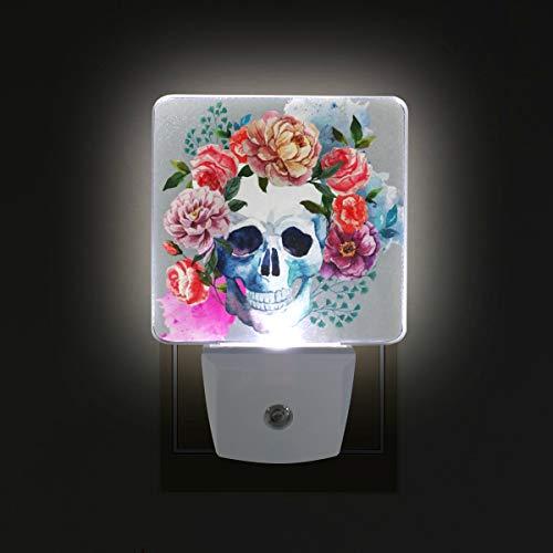 (Flower Skull LED Night Lights with Auto Dusk to Dawn Sensor, Plug-in Warm White Lamp for Nursery Hallway Kids Room)
