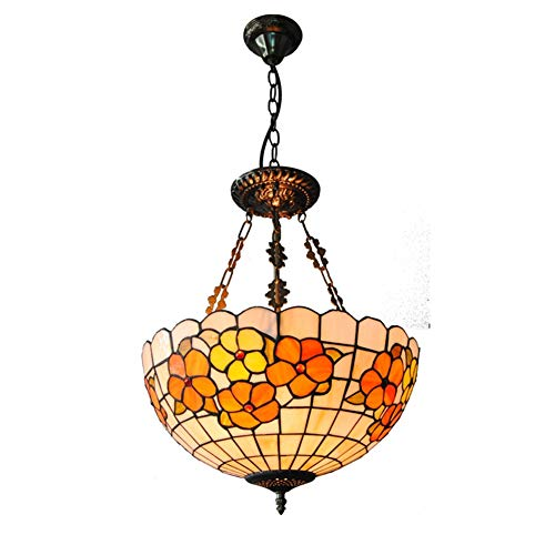 Tiffany Style Chandelier, 16 inch European Rich Flower Design Shell Pendant Light, Retro Decorative Hanging Lamp for Living Room Bedroom Wedding Gift ()