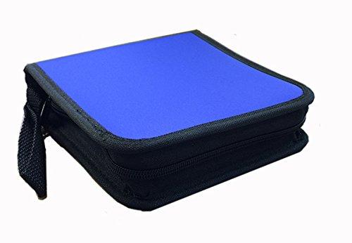 24-Disc CD/DVD Nylon Media Storage Wallet (Blue/Black)