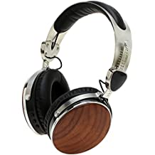 Symphonized Wraith 2.0 Bluetooth Genuine Wood Wireless Headphones with 3.5mm Cable Included for Wired Use (Walnut)