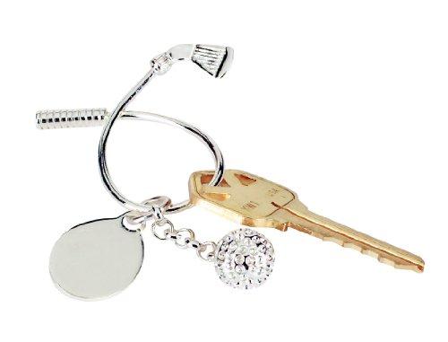 Twisted Golf Club & Ball Key Ring (Silver Golf Club Key Ring)