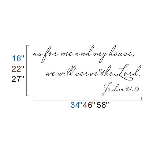 MairGwall As For Me and My House, We will Serve the Lord -Joshua 24:15 -Wall Decal Vinyl Quote Sticker (Dark Brown, Large)