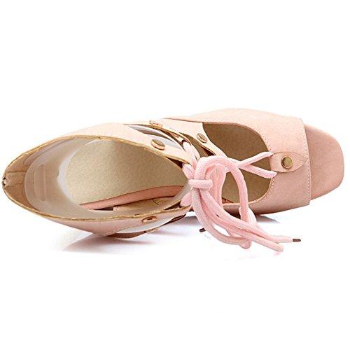 COOLCEPT Mujer Moda Cordones Sandalias Punta Abierta Tacon de Cuna Slingback Zapatos Verano Boots Rosado