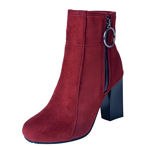 Mee Shoes Women's Snow Zip High Heel Short Boots Red
