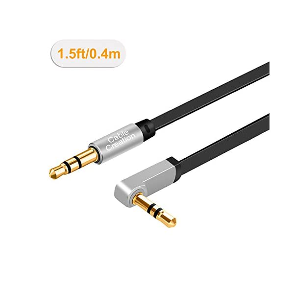 CableCreation 35mm Auxiliary Audio Cable Flat Stereo Cord 90 Degree Right Angle Silver And White