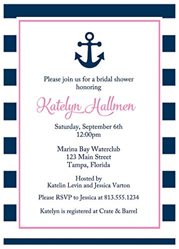 Nautical Bridal Shower Invitations Anchored In Love Wedding Party Invites Navy Blue Pink Stripes Couples Groom Anchor Sailing Co-Ed (10 count) -