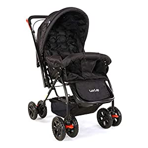 LuvLap Starshine Stroller/Pram, Easy Fold for Newborn Baby/Kids, 0-3 Years (Black)