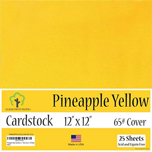 Scrapbooking Paper Apple - Pine Apple Yellow Cardstock - 12 x 12 inch - 65Lb Cover - 25 Sheets