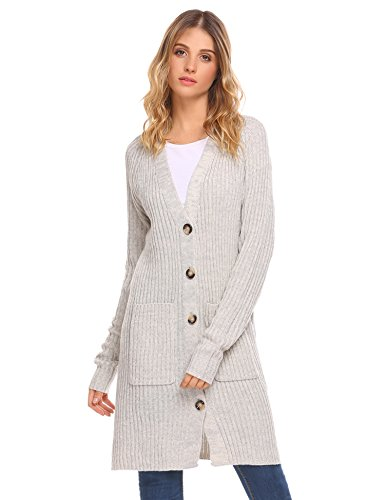 sic Long Sleeve Knit Sweater Open Front Warm Cardigan (Apricot S) (Knee Length Sweater)