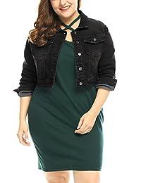 Agnes Orinda Women's Plus Size Button Closed Cropped Denim Jacket 2X Black
