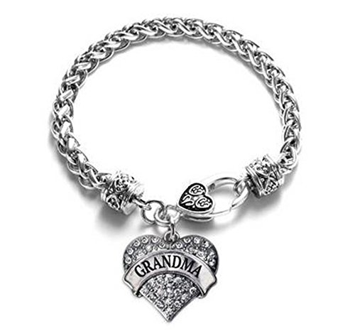 Weahre Bling Charm Crystal Silver Love Hearts Metal Bracelets for Family Member Friends Birthday (Grandma White)