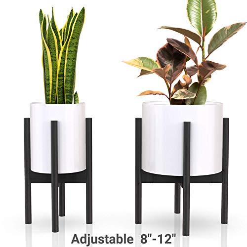 declutterd Plant Stand Adjustable Mid Century Indoor Plant Holder for House Plants, Home Decor - Wood - Fits Planter 8 to 12 Inches - Excludes Plant Pot (Black 2-Pack) (Ceramic Poppy Stand)