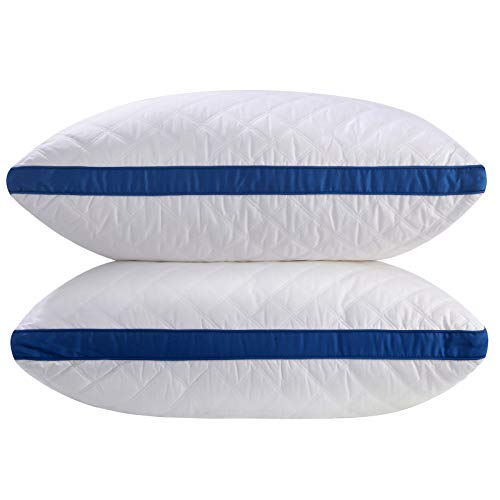 SONGMICS Pillows for Sleeping 2 Pack, Adjustable Bed Pillow, 100% Cotton Cover, Gusseted Design, Down Alternative, with Side Zipper, Hypoallergenic, Dust Mite Resistant, Standard/Queen URBP03WU by SONGMICS