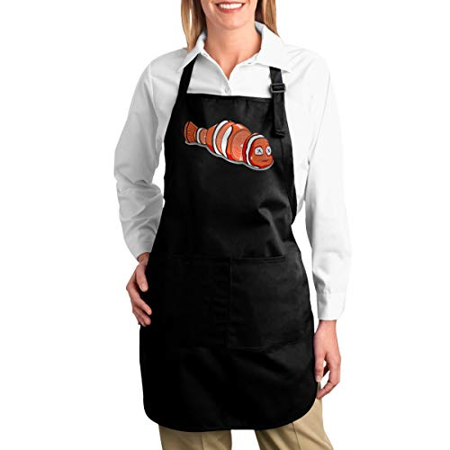 OURFASHION Apron Sushi Nemo Adjustable Bib Apron with Pockets for Women and Men Home Kitchen Garden Restaurant Cafe Bar Pub Bakery ()