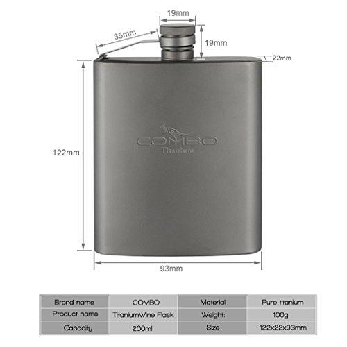 Combo 200ml Titanium Hip Flask Camping Wine Pot Portable Outdoor Drink Flagon Liquor Flask