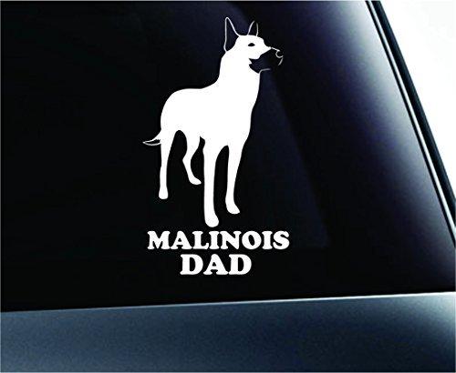 Belgian Malinois Dad Silhouette Symbol Decal Paw Print Dog Puppy Pet Family Breed Love Car Truck Sticker Window (White), Decal Sticker Vinyl Car Home Truck Window Laptop (Malinois Silhouette)