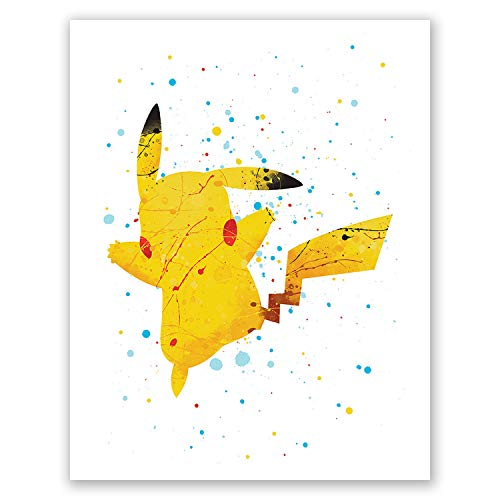 (Pikachu Art Poster - Pokemon Wall Art Print - Home Decor - Movie Picture - Baby Room Art - Party Decoration (8x10))