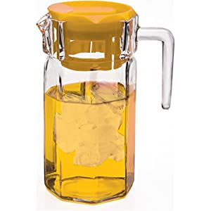 Circleware Lodge Glass Beverage Drink Pitcher with Yellow Plastic Lid, 50 Ounce, Limited Edition Glassware Drinkware Water Dispenser