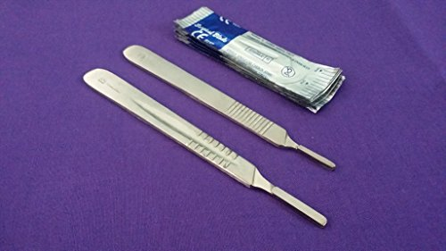 Scalpel Knife Handles #3#4 with 20 Sterile Surgical Blades #10#22 (DH BRAND) - Steel Sterile Surgical Blades