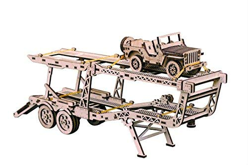 Wood Trick 3D Mechanical Model Car Trailer Wooden Puzzle, Assembly Constructor, Brain Teaser, Best DIY Toy, IQ Game for Teens and Adults