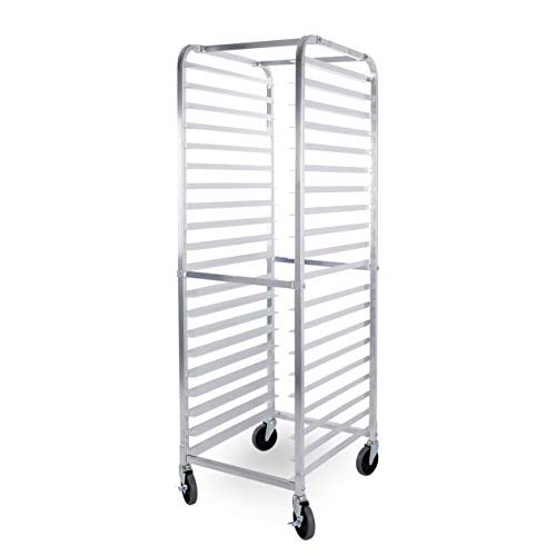 ARKSEN Heavy Duty Welded Aluminum Full Height 20 Tier Sheet/Bun Pan Rack with Caster - Rack Pan Bakery