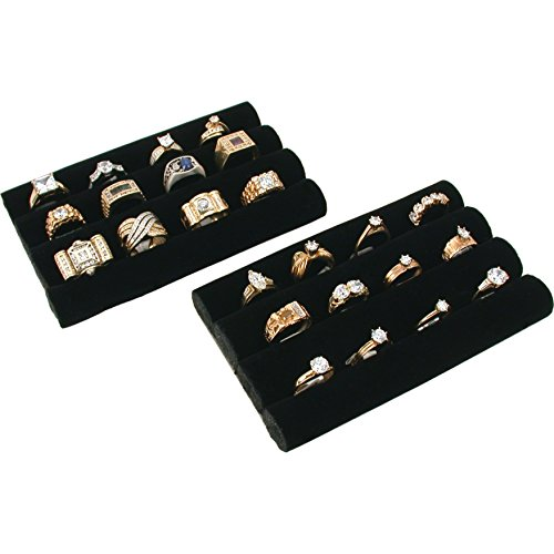 (FindingKing 2 Black Velvet Ring Trays Jewelry Pad Showcase Displays)