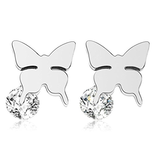 KnBoB Stainless Steel Earrings for Women Butterfly Cubic Zirconia Stud Earrings - Kors Baby Micheal