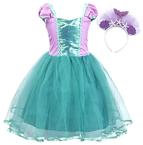 AmzBarley Mermaid Party Dress up for Girls Princess Ariel Costume Holiday Cospaly Birthday Party Outfit Halloween Tulle Tutu Sundress with Headband Size 3-4 Years -