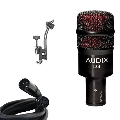 Audix D4 Drum Microphone Bundle with XLR Cable and Drum Rim Mic Clip by Audix