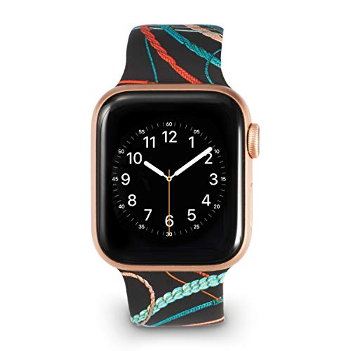 Allbingo Super Cute Bands Compatible with iWatch 40mm 44mm 38mm 42mm, Silicone Printed Pattern Women Replacement Floral Straps for Series 4/3/2/1 (Sports Rope, 38mm/40mm S/M) ()