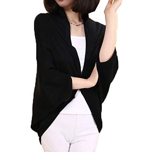 SXSKSS レディースファッション オフィス カーディガン エアコン 無地 長袖 ドルマンスリーブ ニットウェア ブラック