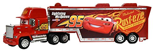 Disney Pixar Mack Lighting McQueen 95 Piston Cup Trailer Holds 2 Vehicles -