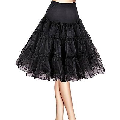 "BellaSous Tea Length 26"" Women Petticoat Nylon Yoke Underskirt for Vintage Dresses, Poodle Skirts Rockabilly"