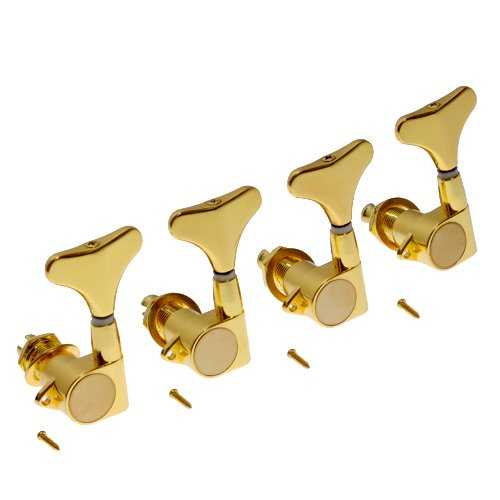 Kmise A1643 New 4(L) Electric Bass String Tuning Pegs Machine Heads, Gold (Bass Strings Gold)