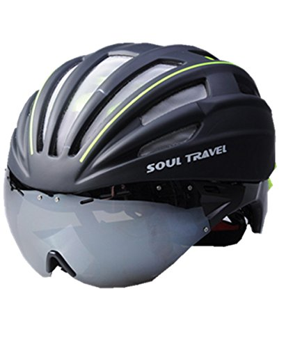 (SOUL TRAVEL Adults Bike Helmet Adjustable Cycling Helmet with Goggles Road Bike Helmet with Removable Shield Visor (Green)