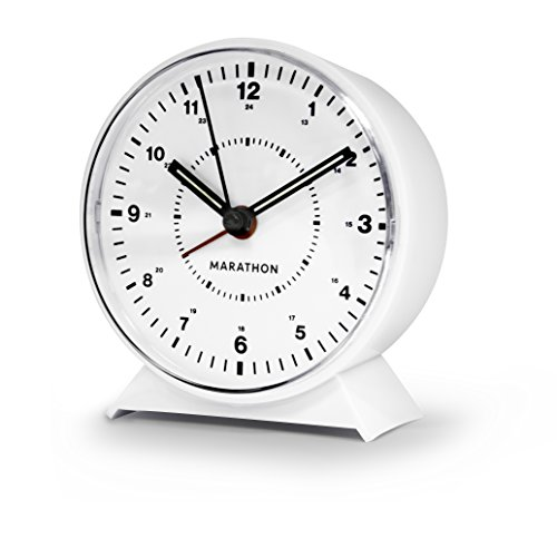 Marathon CL034001WH Mechanical Wind-Up Alarm Clock (White) - LOUD ALARM- Easy to set loud and clear alarm with progressive interval ring WIND-UP - No electricity or batteriers are required LIGHT- Luminescent marking on hands for easy reading in dim environments. - clocks, bedroom-decor, bedroom - 41r4AaB%2BFnL -