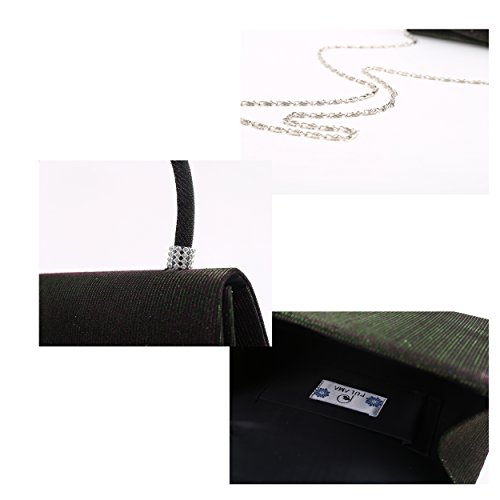 Hard Deep Office Pulama with Simple Clutch Glitter Diamonds for Wedding Green Handle Twinkle Evening Party OAqAtn