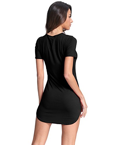 StyleDome Blusa Camiseta Casual Elegante Verano Algodón Cuello V con Tiras Mangas Cortas para Mujer Negro