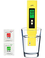 PH Meter Tester Kit with 2 pH Buffer Packets Calibration for Water Hydroponics Aquariums Pool Soil, Digital Ph Water Quality Tester Probe Pen 0-14 Measurement Range 0.01 PH Accuracy with ATC (Yellow)