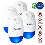 SENQIAO Pest Control Ultrasonic Repeller for Mosquitoes, Insects, Spiders, Mices, Roaches, Bugs, Flies and More for Home Indoor - Non-Toxic Eco-Friendly, Human & Pet Safe [4 Pack]