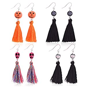 Zhenhui Halloween Earrings for Women – 4 Pairs Thread Tassel Drop Dangle Earrings Set Including Skull,Cobweb,Cat and Pumpkin Earrings with Tassel,The Perfect Halloween Jewelry Gift for Women Girls
