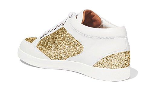 ZXD Mercury - Calzado para Shows Glitter Purpurina Y Cuero PU Suela de Goma PU Sin Logotipo Unisex Dorado