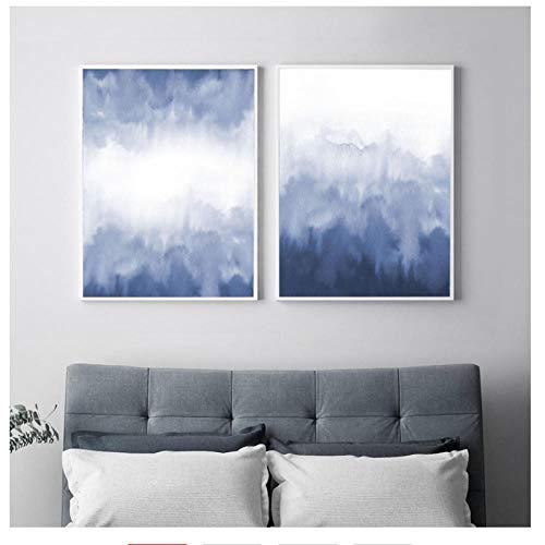 XIXISA Acuarela Azul Blot Blur Pintura Abstracta Imprime posters y Grabados nordicos Cuadros Modernos para la Sala de Estar Decoracion para el hogar 50 70 cm Sin Marco