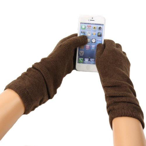 Ladies Winter Soft Long Ruched Tablet Smart Phone Touch Screen Gloves Brown S/M