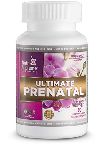 Ultimate Prenatal Once Daily with Folate (5 Methylfolate) & P-5-P 90 Vegetarian Capsules - Complete Multivitamin - Provides All Essential Vitamins & Minerals - Rich in Zinc & Iron - Certified Kosher (The Best Prenatal Vitamins 2019)