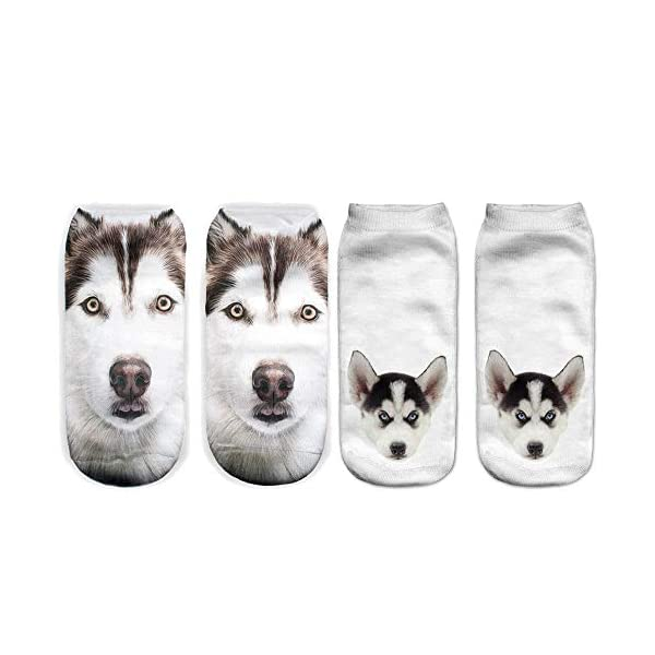 Angelteers Unisex's Funny 3D Husky Dog Ankle Socks Cute Low Cut Socks for Summer 3