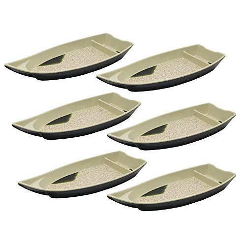 Set of 6, The Elixir Deco Sushi Serving Boat, 10 x 4 inches, Sushi Boat Plate Sushi Serving Tray with Dipping Sauce Compartment for Restaurant and Home