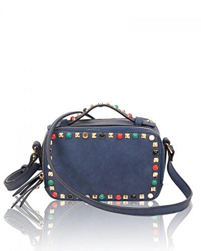 Women Handbag Navy Size Cross For Bag Small Fancy LeahWard Studded Body Women's 8v5RqP